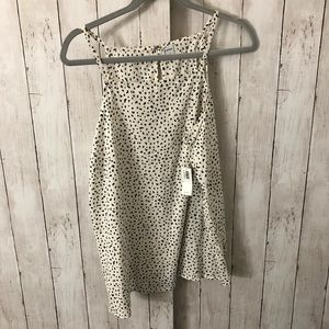 NWT white and black spotted tank size L